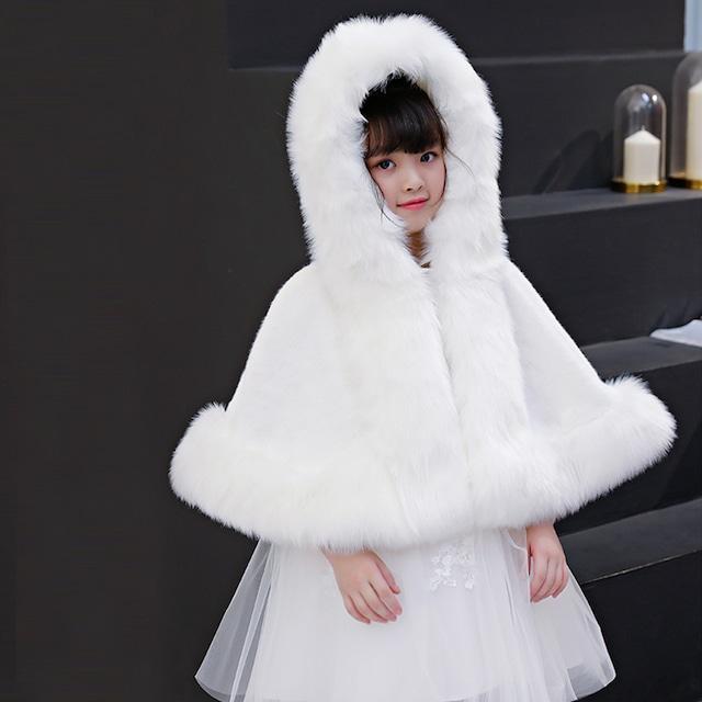 フェイクファー フォックス ファー ノースリーブ 襟付きファー ボレロ 子供 ドレス ワンピースに合わせて キッズ カーディガン アウター ファー 羽織 子供服 女の子 白 ホワイト 発表会 結婚式