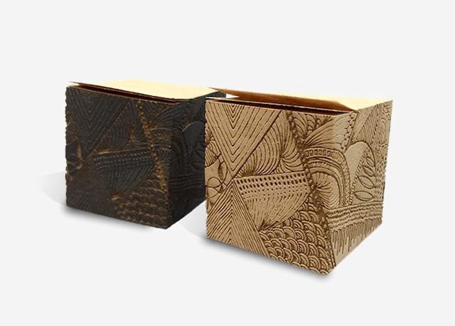 彫刻フセン(2個セット)モンメ茶&黒