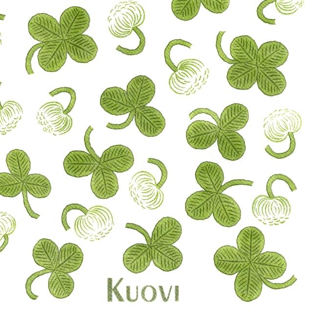 北欧【Kuovi】バラ売り1枚 ディナーサイズ ペーパーリネンナプキン WILD CLOVER グリーン フィンランド製 ARABIA APILA