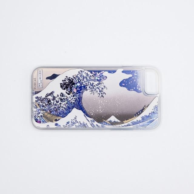 葛飾北斎 iPhoneグリッターケース(SE第2世代/6/6s/7/8用) 神奈川沖浪裏