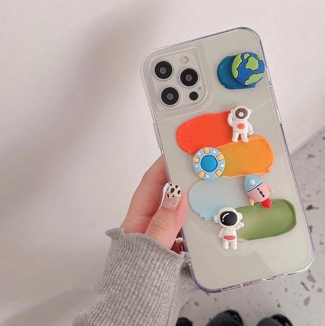 Clear cute astronaut iphone case