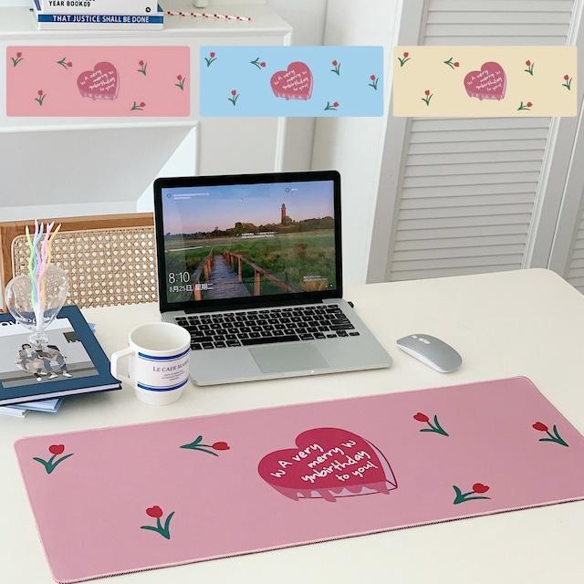 テーブルマット デスクパット デスクマット マウスパッド 滑り止め 雑貨 インスタ映え 小物 マット シンプル おしゃれ 大きめ 衝撃吸収 音防止  チューリップデザインマット