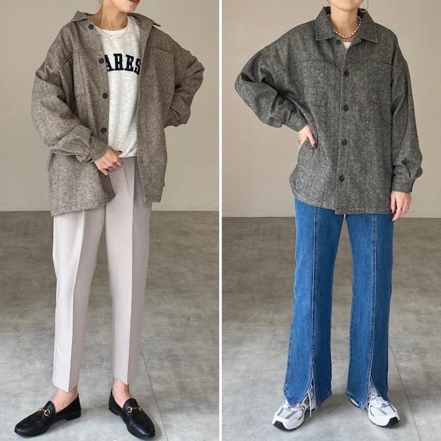 ◆即納◆ビッグシルエットヘリンボーン長袖シャツジャケット OP-t233