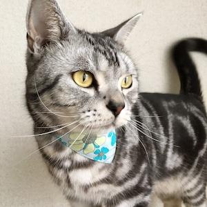 【アネモネ柄ブルー】猫用バンダナ風首輪/選べるアジャスター 猫首輪 安全首輪 子猫から成猫