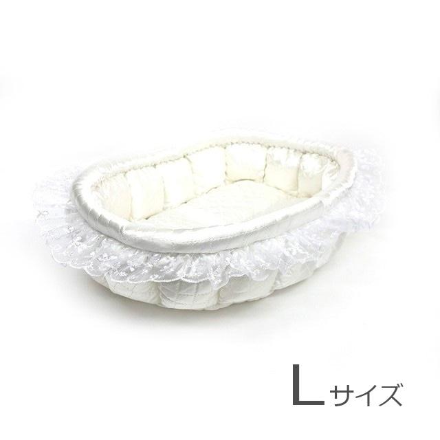 ふーじこちゃんママ手作り ぽんぽんベッド フリル付き(サテンホワイト)Lサイズ【PB1-003L】