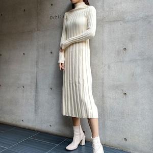 【即納】タートルネックロングワンピース(ホワイト) ウール 秋冬 ドレス シック タイト オールド パーティ
