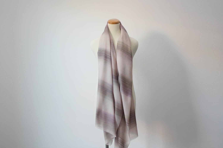 シルクウールショール ベージュ×薄紫