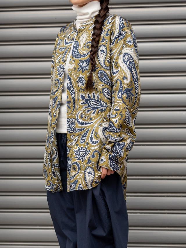【BANANATIME】SLIM GRANDAD SHIRT:JUMBO PAISLEY KHAKI
