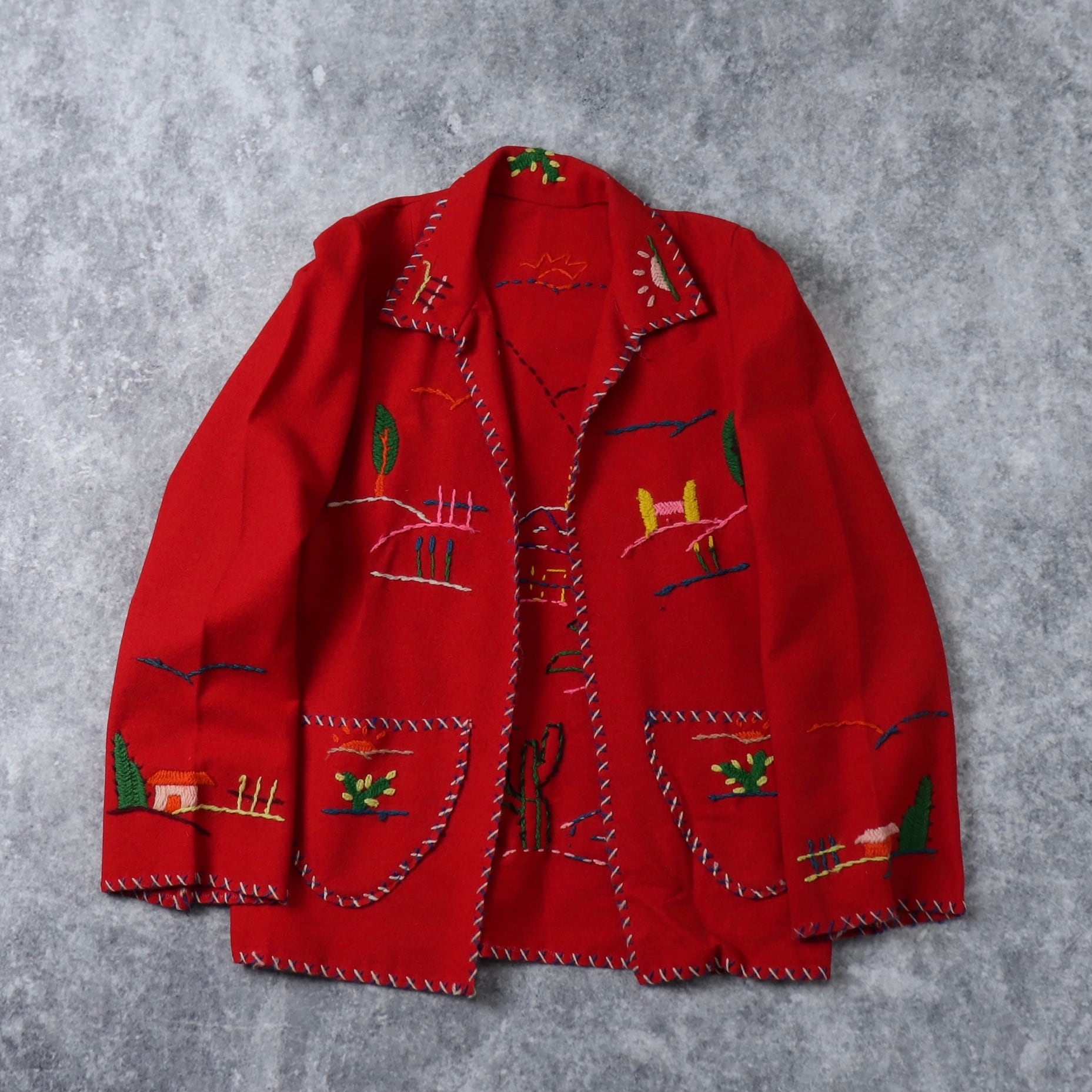 50~60s  Hand Made Wool Jacket   50~60年代 ウールジャケット ハンドメイド メキシカン刺繍 レディース ヴィンテージ 古着 A636