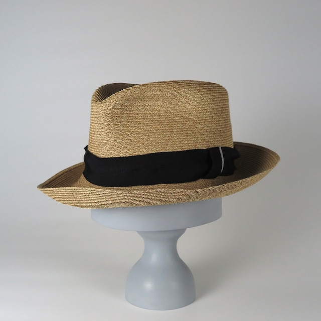 SS20-BD-4 Paper Braid Crinkle Hat BEG/BLK/SIL