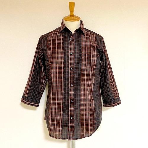 Cut Dobby Check Regular Collar 7/S Shirts Brown