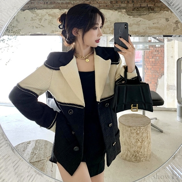 【アウター】韓国系配色切り替えゆったり長袖スーツジャケット33818407