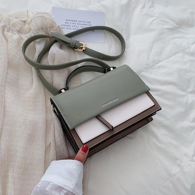 【2060シリーズ】★ショルダーバッグ★ 全6色 手持ち 配色 PU 合わせやすい デート 可愛い シンプル