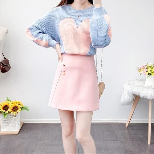 【2点セット】2色/ハートセーター+ポイントパールスカート ・18712