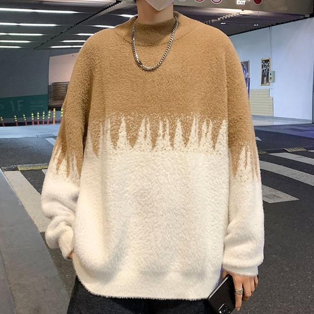 【メンズファッション】人気集中アイテム 切り替え  配色 長袖 プルオーバー 秋冬 ラウンドネック セーター53914795