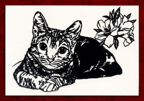 切り絵ポストカードno024 真正面から見つめる猫(E-4-02924)
