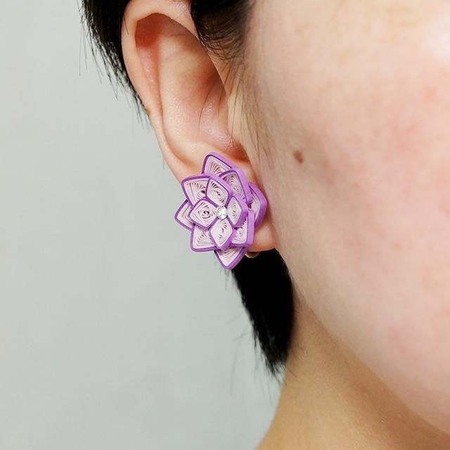 片耳0.8g♪大ぶり紫陽花イヤリング・ピアス[紫2色] , ペーパークイリングの軽いイヤリング・軽いピアス