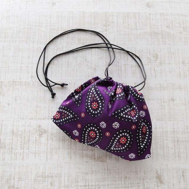 カンガの巾着ショルダー|インナーバッグ / 巾着 / アフリカ布