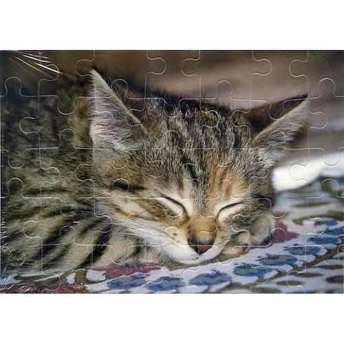 猫グリーティングカード(パズル型ポストカード)おねんね