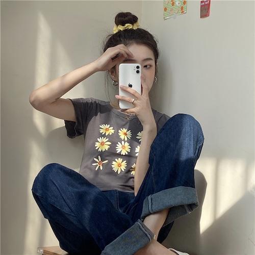Tシャツ 半袖 袖切りっぱなしデザイン ショート丈 フラワー グレー 韓国ファッション レディース 花 カットソー ラウンドネック かわいい カジュアル ガーリー 614247121002_gr
