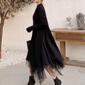 ロングセーター&シフォンスカート