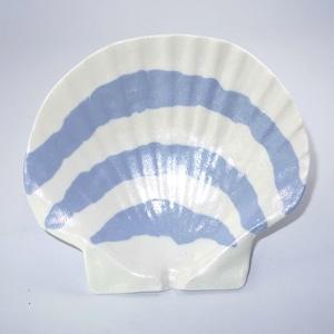 ホタテ貝皿(白色縞模様)T-12