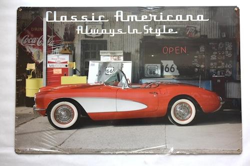 スチールサイン GMC-128 Classic Americana Corvette