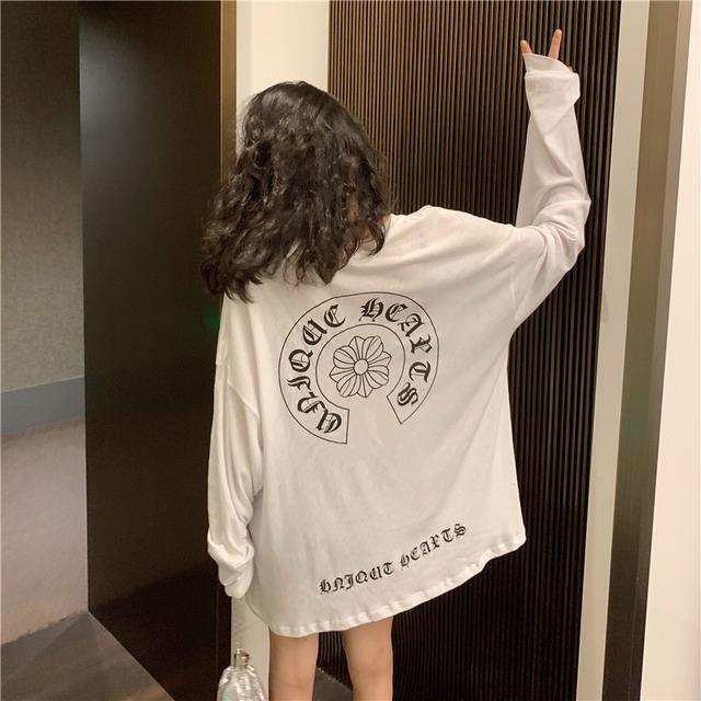 【トップス】韓国系長袖プリント膝上アルファベットTシャツ43010372