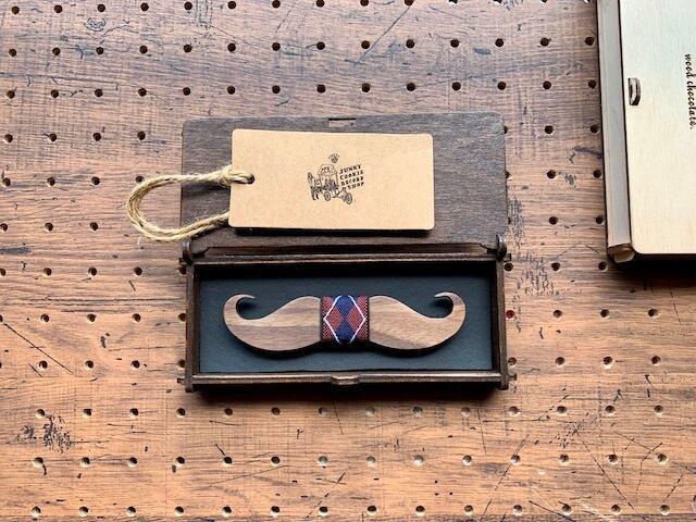 木製 蝶ネクタイ #Argyle Mustache - 画像3