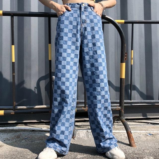 【ボトムス】レトロファッションチェック柄配色ハイウエストレギュラー丈ジーンズ22205656
