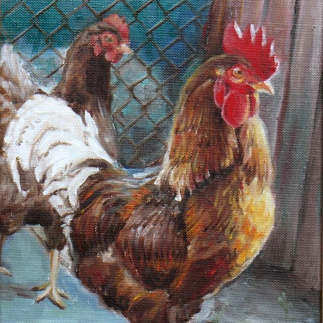 絵画 絵 ピクチャー 縁起画 モダン シェアハウス アートパネル アート art 14cm×14cm 一人暮らし 送料無料 インテリア 雑貨 壁掛け 置物 おしゃれ 油絵 水彩画 鉛筆画 鶏 動物 ロココロ 画家 : Uliana ( ウリャーナ ) 作品 : u-19