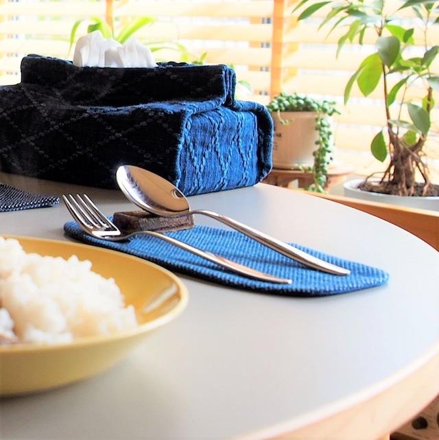 うしじま縫製 | 武州正藍染 カトラリーコースター(小) 一重刺子