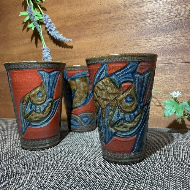 赤絵魚紋 ビアカップ(大)