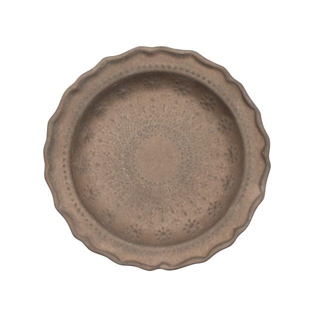 益子焼 わかさま陶芸 「フレンチレース」 プレート 皿 S 約16cm ビジュゴールド 256036