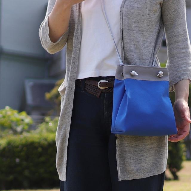 【ピクニックショルダー】ブルーベース 北欧×富士金梅・帆布ショルダーバッグ