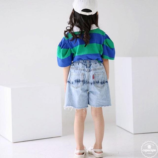 «sold out»«ジュニアサイズ» bubble kiss denim shorts デニムショートパンツ