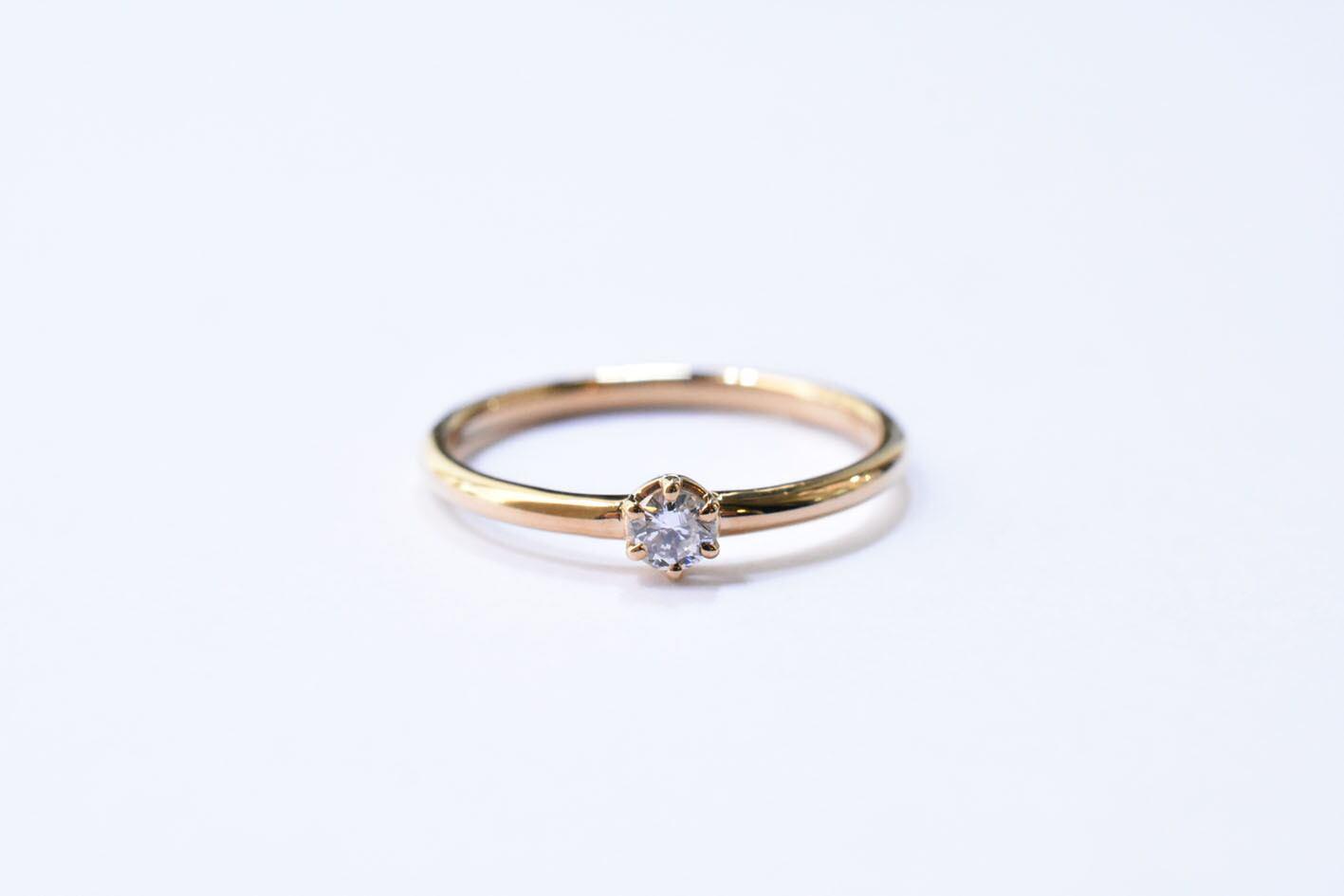 一粒 ダイヤモンドリング (プロング)  0.1ct / K18YG