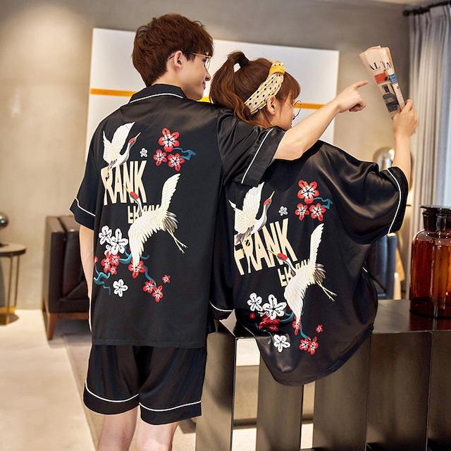【IROUQシリーズ】★チャイナ風パジャマ★ カップル服 ルームウェア 人工シルク 涼しい 鶴 つる