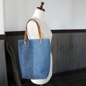 藍染リネン手織りトートバッグ(sb299)ヘリンボーン柄