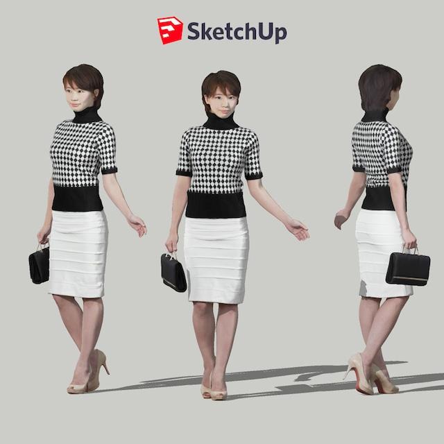SketchUp素材 3D人物モデル ( Posed ) 025_Haru - メイン画像