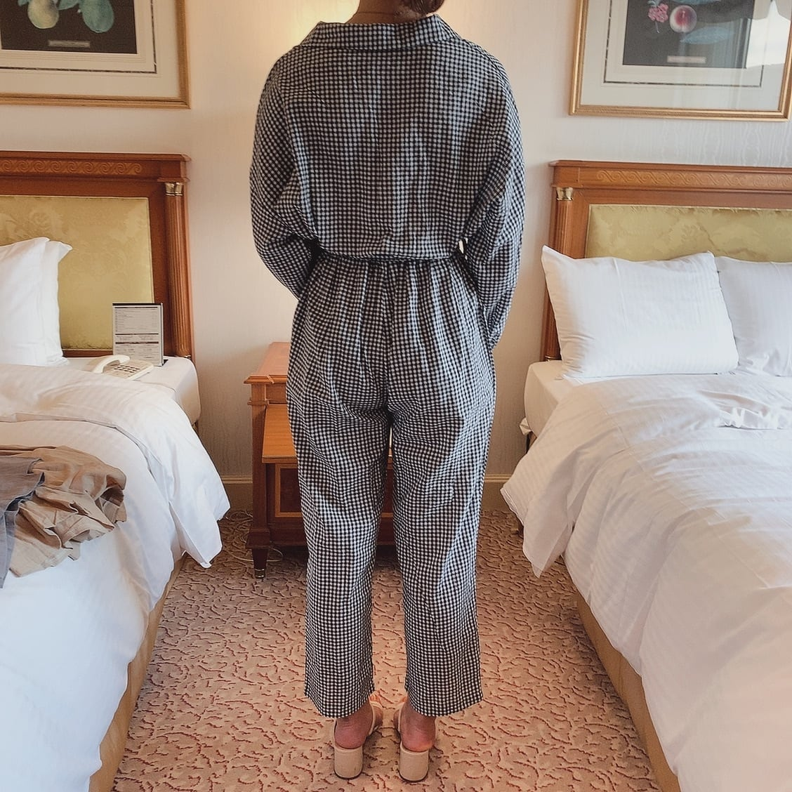 【LAST2】gingham check rompers