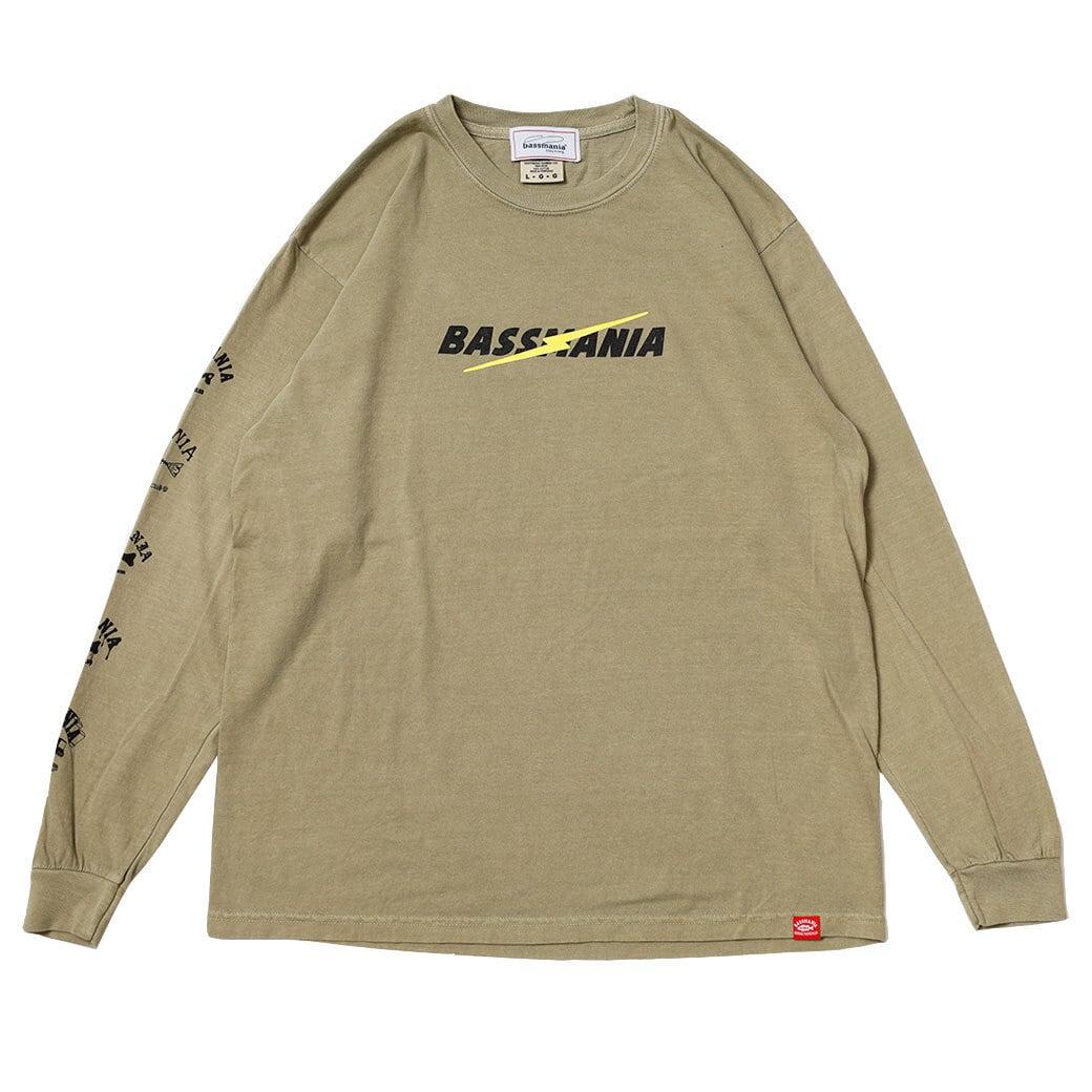 ライトニングロゴピグメントダイL/S Tシャツ [カーキ]