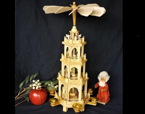 クリスマスピラミッド大 51㎝ 聖降誕人形飾り ウィンドミル
