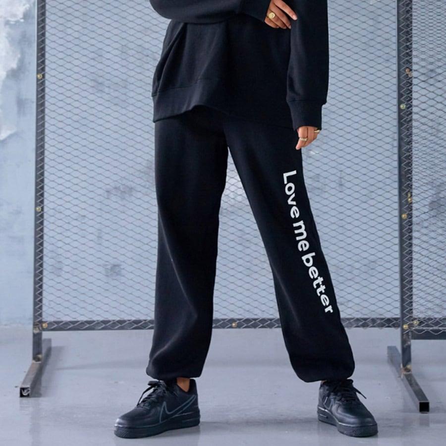 コットン素材ジョガーパンツ(ブラックSサイズ)