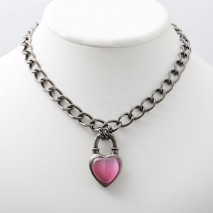 Never End®  Chain Choker/Necklace Silver/Pink #1755 ネバー・エンド チョーカー/シルバー/ピンク