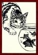 切り絵ポストカードno013 飛びかかる猫(E-4-01813)