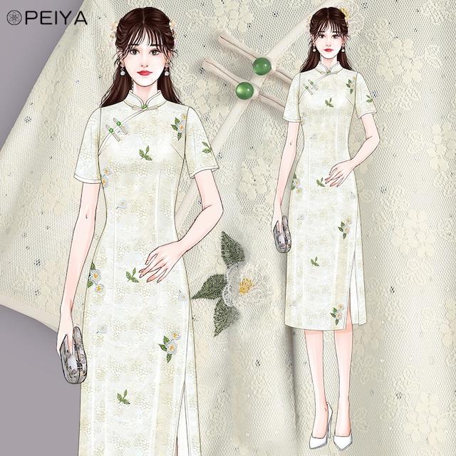 【PEIYAシリーズ】★レースチャイナドレス★ 花柄ワンピース 2color ベージュorピンク 刺繍入り