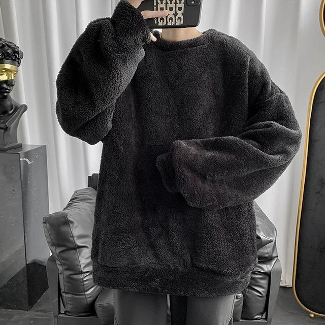 【メンズファッション】シンプルラウンドネックスエードプルオーバーパーカー37940885