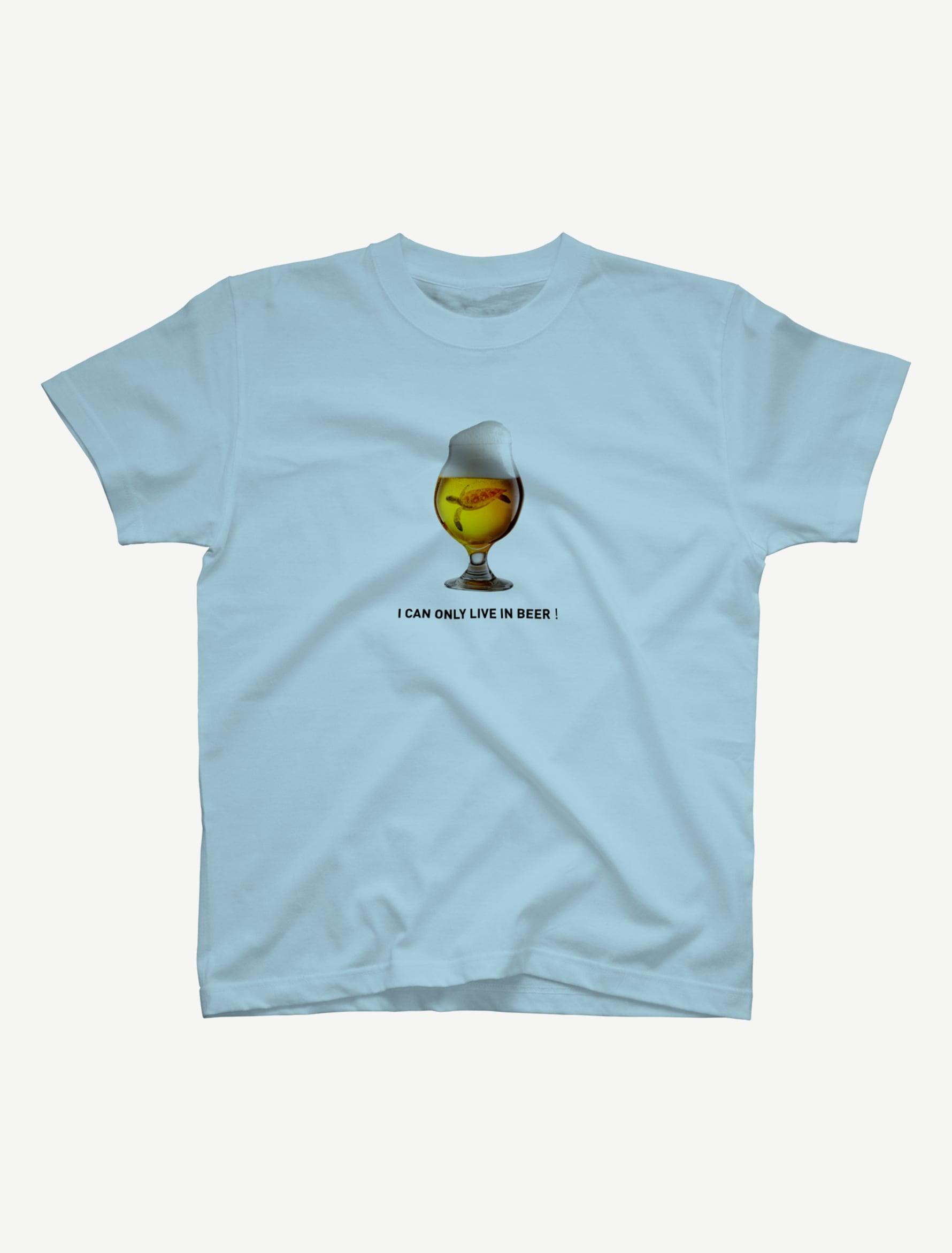 【ビールの中でしか・・・ウミガメ】Tシャツ(ライトブルー)