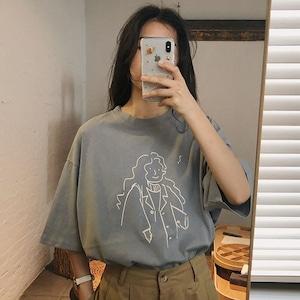 レトロラウンドネックTシャツ S1932